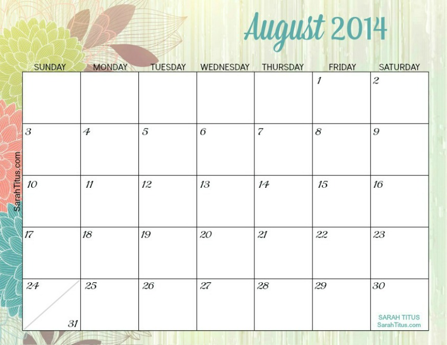 August Calendar 2014 : Free printable monthly calendars sarah titus