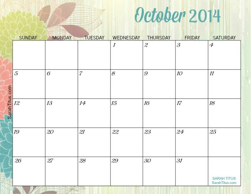 ... 2014 Calendar Free printable - 2014 monthly calendars - sarah titus