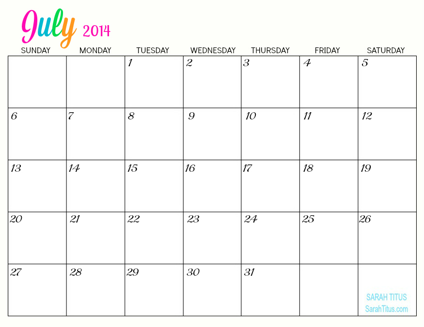 Rest Of Year Calendar : Blank july calendar white gold