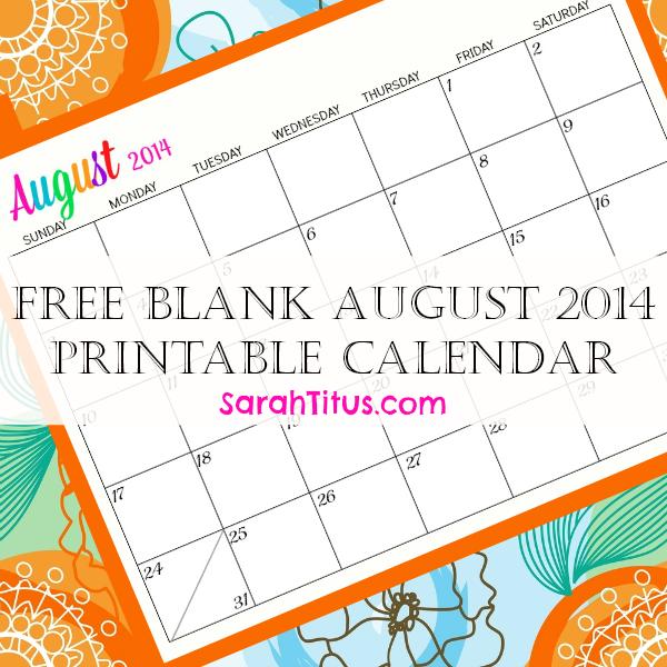 Free Blank Online Calendar - August 2014