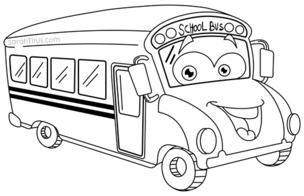 Back to school coloring pages sarah titus for School bus coloring page