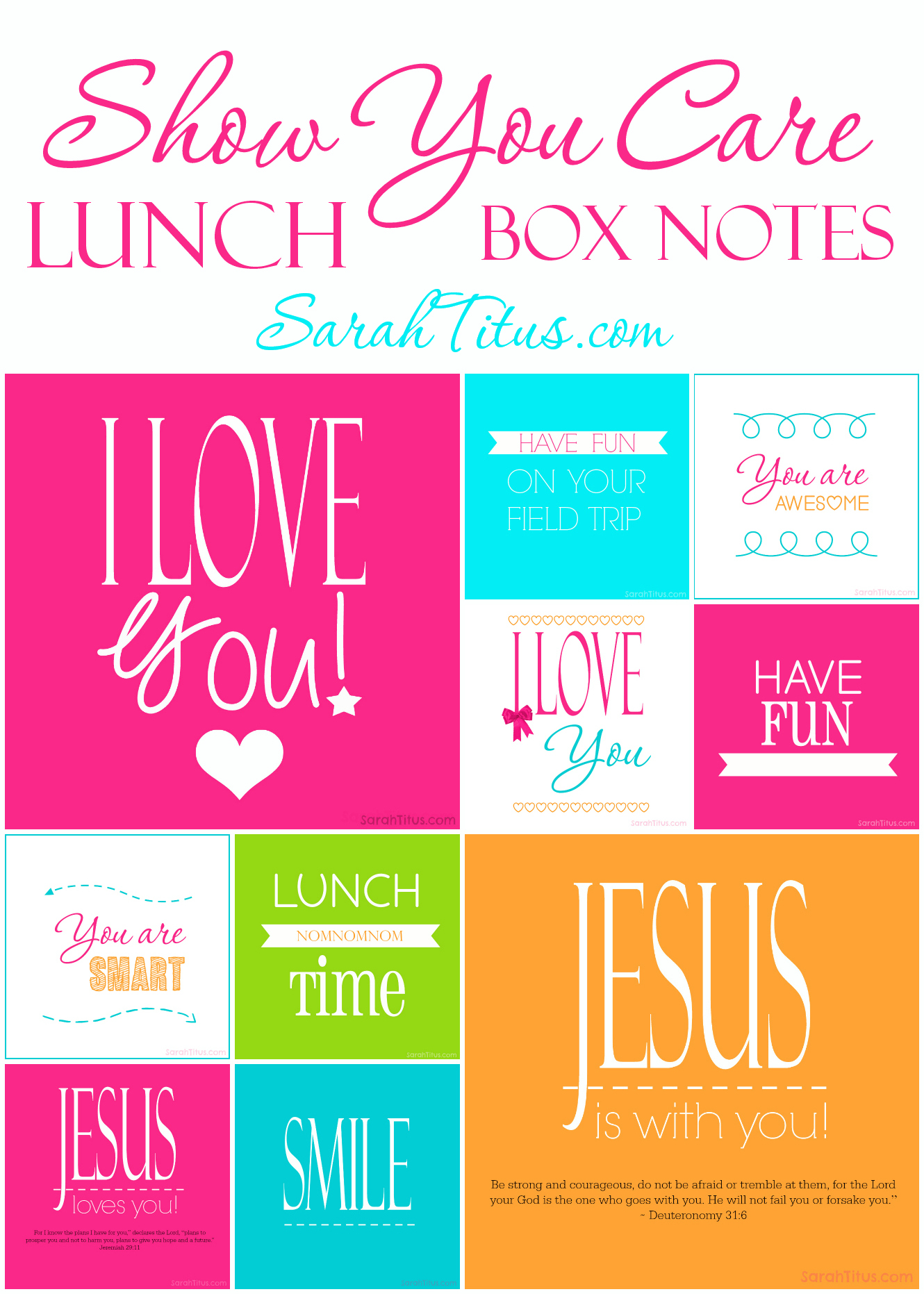 Show You Care: Free Printable Lunch Box Notes for Kids