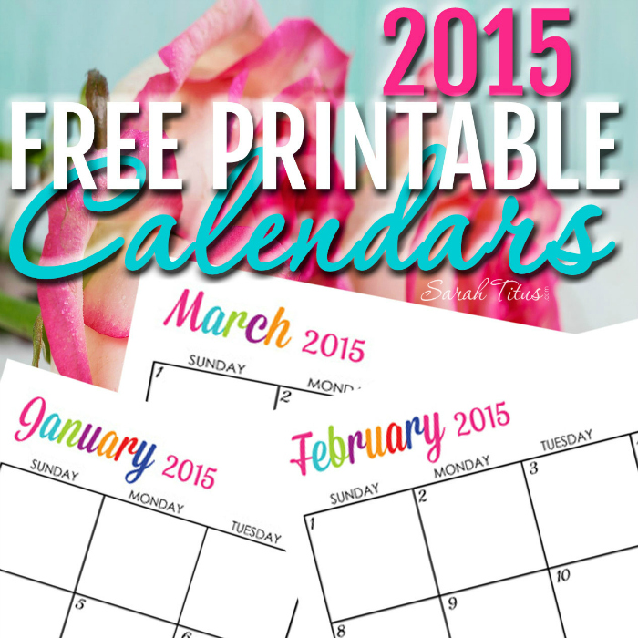 Free 2015 Printable Calendars - Completely editable online!!! Use them for menu planning, homeschooling, blogging, or just to organize your life.