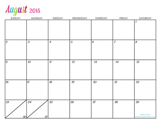 free printable calendar August-2015-calander-editable