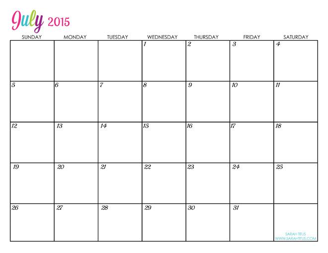free printable calendar July 2015 calander editable