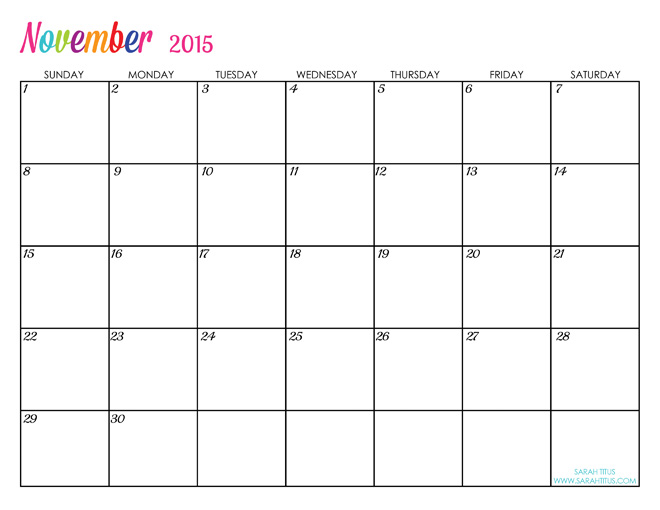 2016 Free Printable Monthly Calendars | Calendar Template 2016