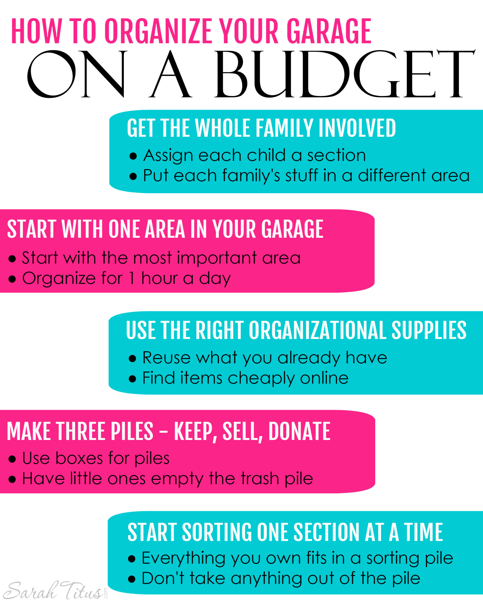 The garage is one of those places in our homes where it can easily become a catch-all for just about everything. This free printable will help show you how to organize your garage on a budget!