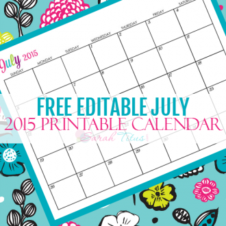 Great for menu planning, homeschooling, blogging, and organizing your life. Get your Free Blank Online Editable Calendar July 2015 here!