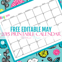 Great for menu planning, homeschooling, blogging, and organizing your life. Get your Free Blank Online Editable Calendar May 2015 here!