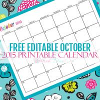 Free Blank Online Calendar October 2015