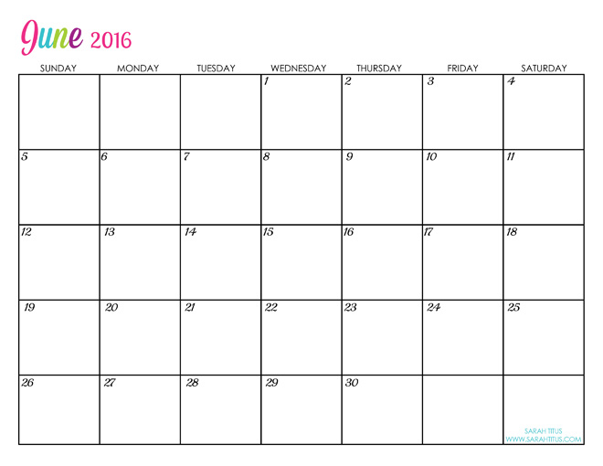 June Custom Editable Free Printable 2016 Calendars