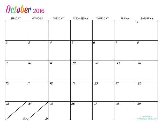 October Custom Editable Free Printable 2016 Calendars