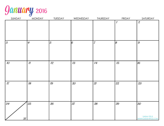 January Custom Editable Free Printable 2016 Calendars