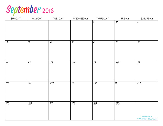 Custom Editable Free Printable 2016 Calendars September
