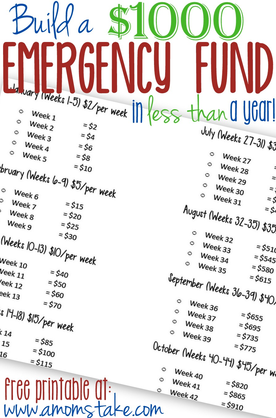 Build your $1000 in just one year! I love this free printable to keep track of your progress!