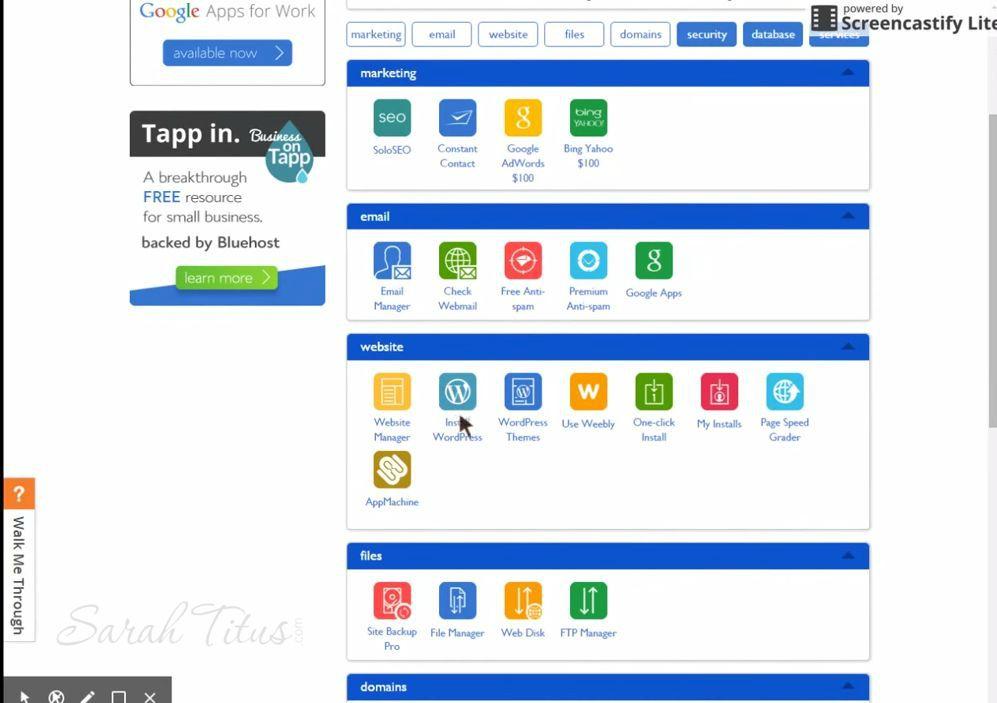 Bluehost web hosting apps