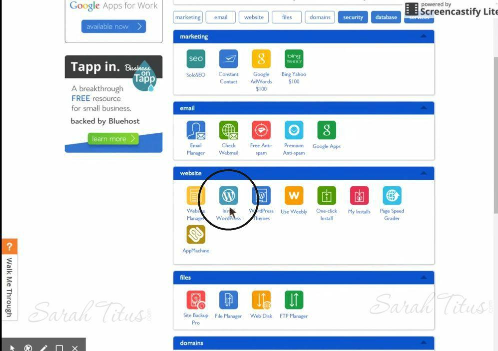 Installing wordpress in your Bluehost web hosting dashboard