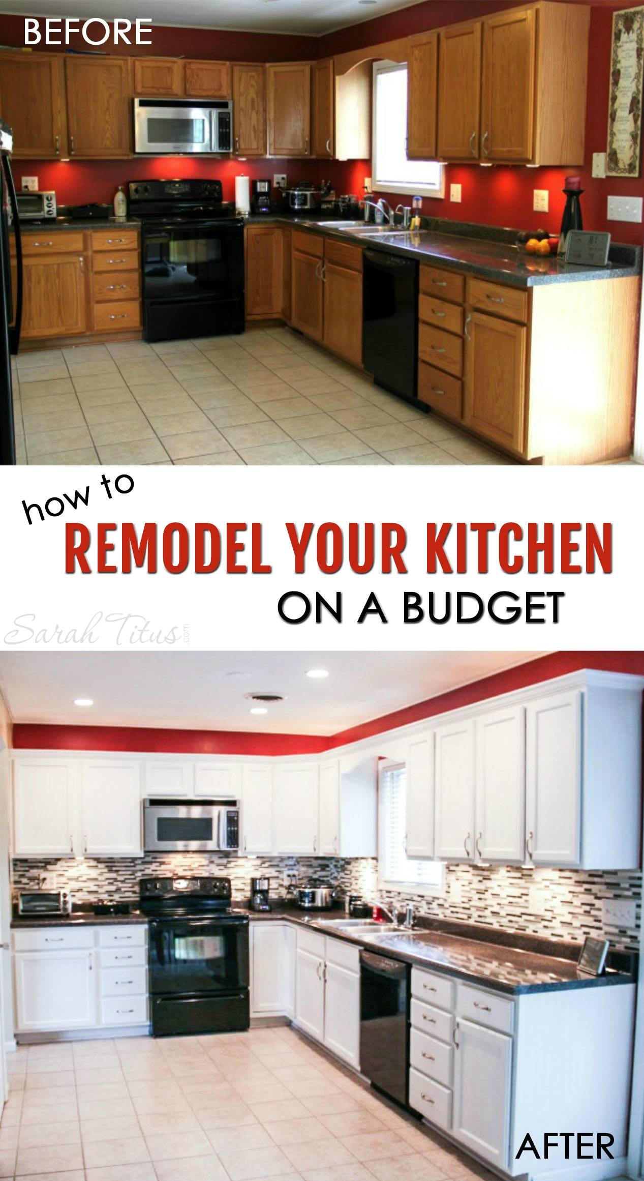 How to remodel your kitchen on a budget sarah titus for Budget kitchen cabinet ideas