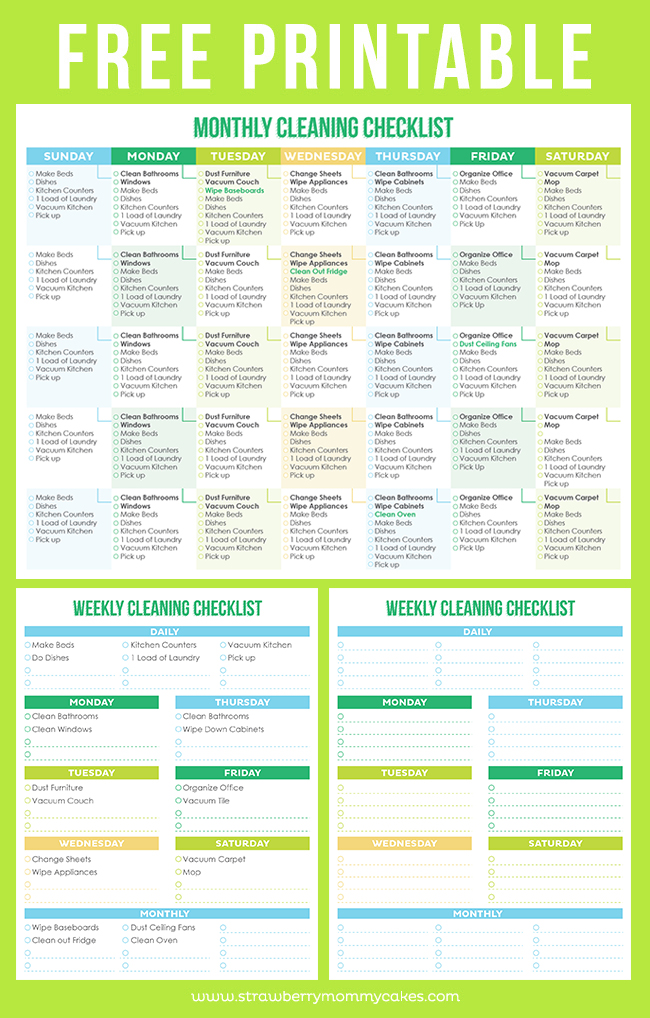 picture relating to Free Printable Cleaning Schedule Template known as The Least complicated Totally free Printable Cleansing Checklists - Sarah Titus