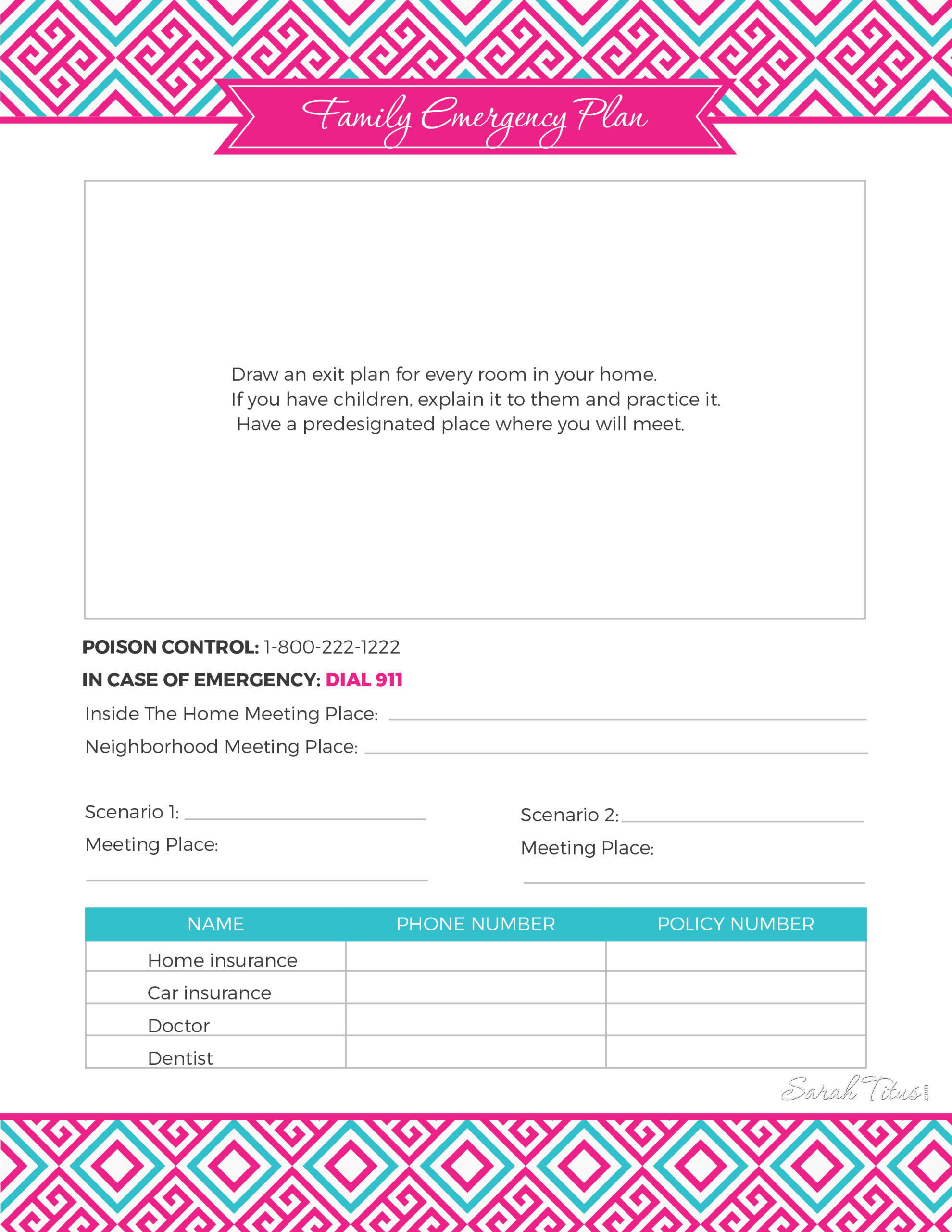 How to start an at-home daycare family emergency plan printable