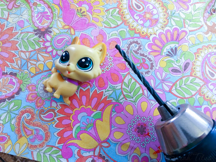 Drilling hole for the hook in Littlest Pet Shop's ear