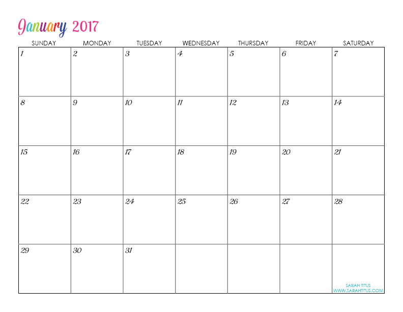 Custom editable free printable 2017 calendars sarah titus free printable 2017 calendars completely editable online use them for menu planning saigontimesfo