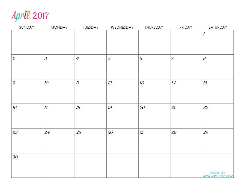 April Custom Editable Free Printable 2017 Calendar