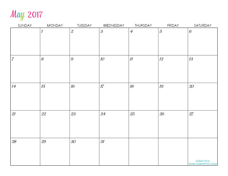 Free Printable 2017 Calendars - Completely editable online!!! Use them for menu planning, homeschooling, blogging, or just to organize your life.