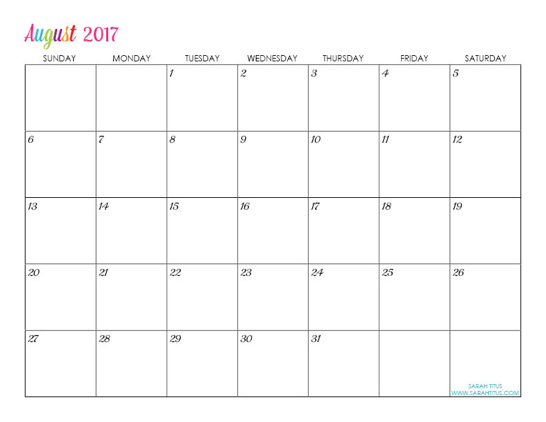 Free Printable 2017 Calendars - Completely editable online!!! Use them ...