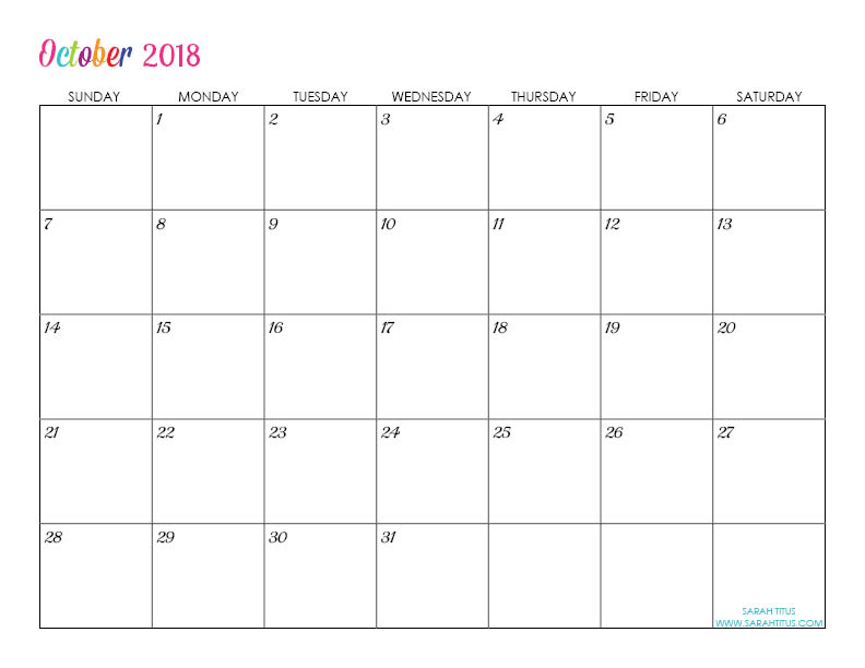 Free Printable 2018 Calendars - Completely editable online!!! Use them for menu planning, homeschooling, blogging, or just to organize your life.