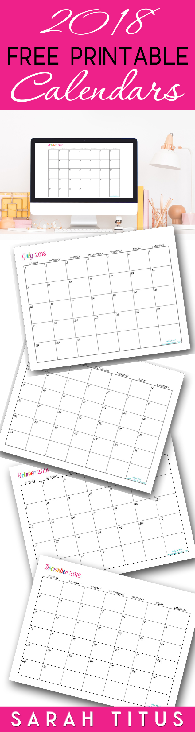 Free Printable 2018 Calendars - Completely editable online!!! Use them for menu planning, homeschooling, blogging, or just to organize your life. #calendars #calendar #monthlycalendar #2018calendar #2018freeprintablecalendars #2018printablecalendars