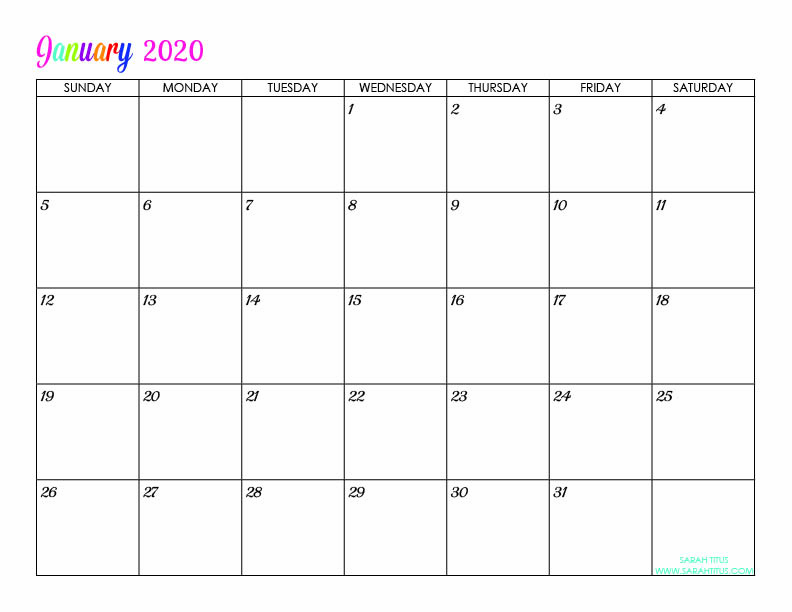 February 2020 Printable Calendar Cute.Custom Editable 2020 Free Printable Calendars Sarah Titus