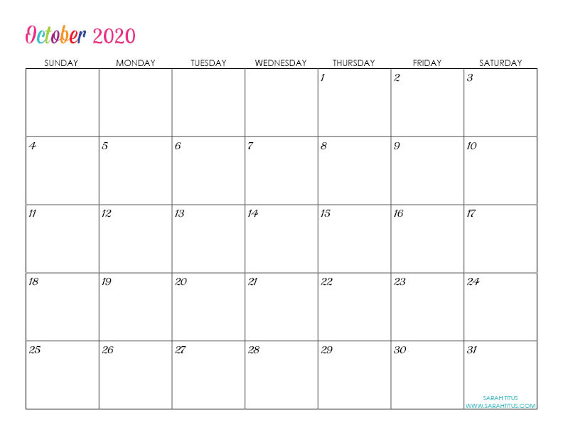 October Custom Editable 2020 Free Printable Calendar