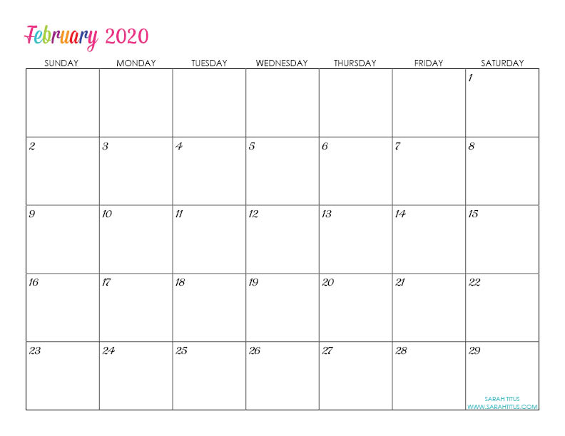 Fillable Calendars 2020 Custom Editable 2020 Free Printable Calendars   Sarah Titus