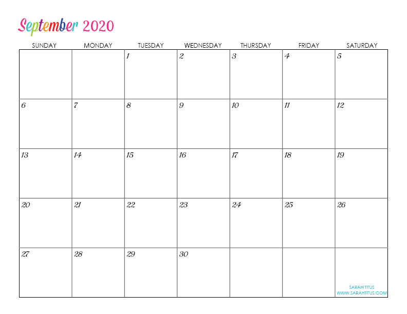 September Custom Editable 2020 Free Printable Calendar