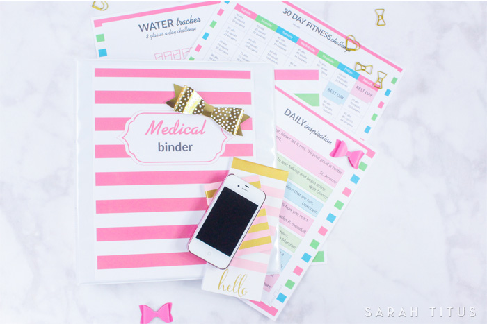 This Medical Binder has EVERYTHING you need with over 35 pages, from medical information, weight loss tracker, personal workout plan, fitness challenge, daily inspiration, family health history, and much, much more!