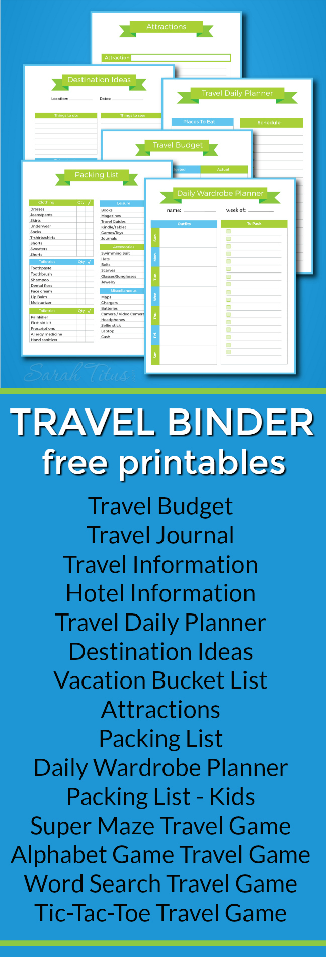 Planning on taking a vacation? Things can get kinda crazy if you're not organized. This Travel Binder is perfect to help you prepare so you can focus on more important things: having fun!