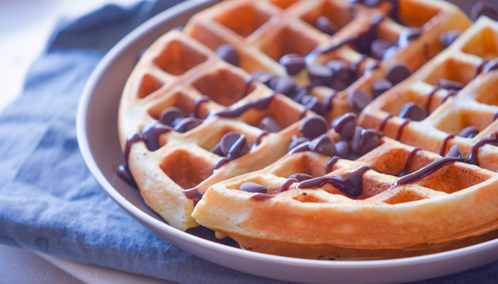 Luscious waffles smothered in chocolate