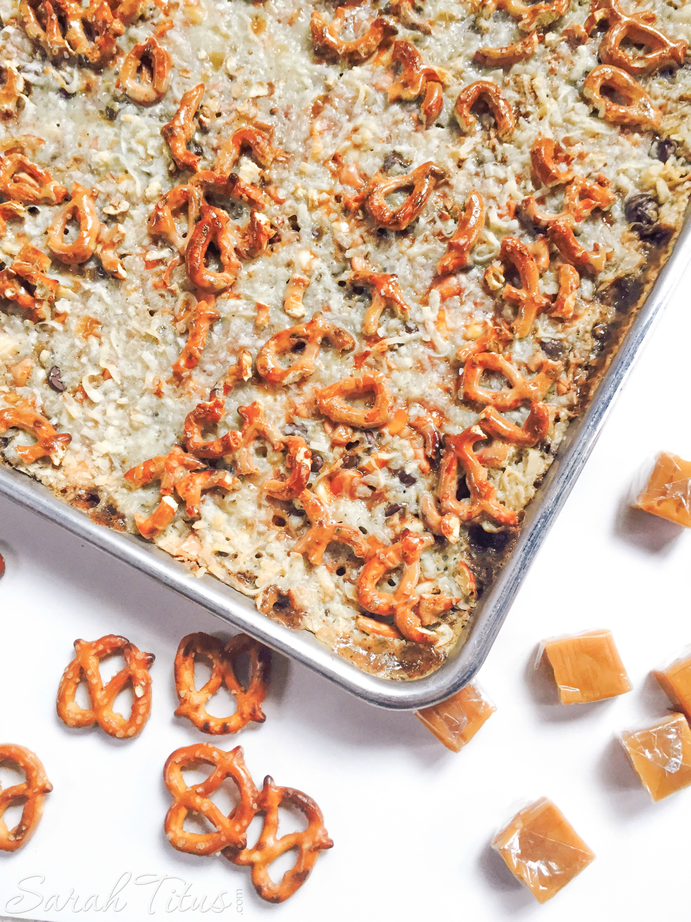 The Salted Caramel Magic Bars drizzled with sweetened condensed milk