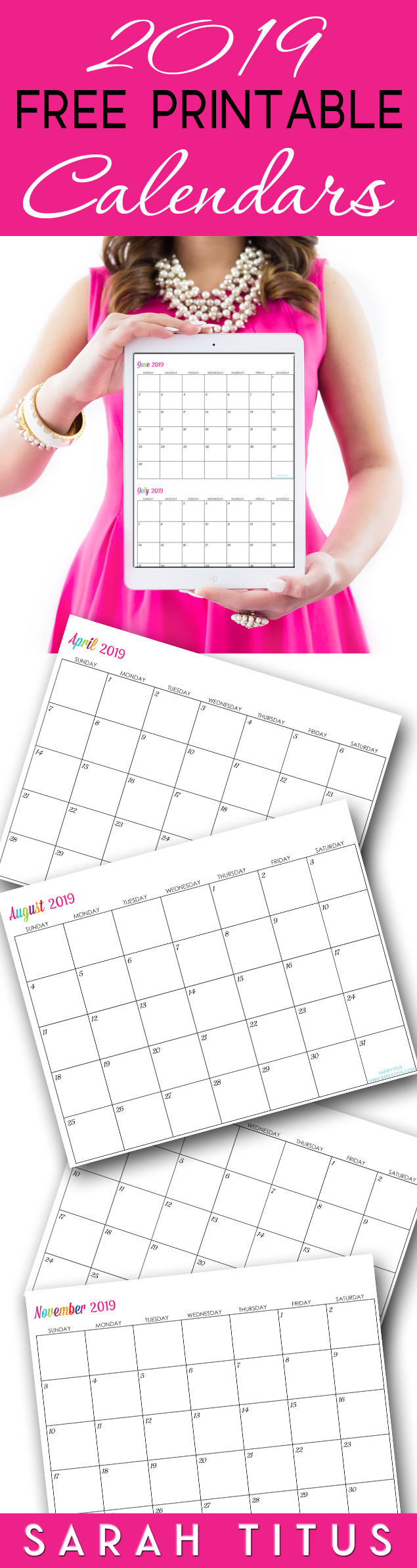 Free Printable 2019 Calendars - Completely editable online!!! Use them for menu planning, homeschooling, blogging, or just to organize your life. #calendars #freeprintablecalendars #freeeditablecalendars #freeprintable2019calendars #2019calendars