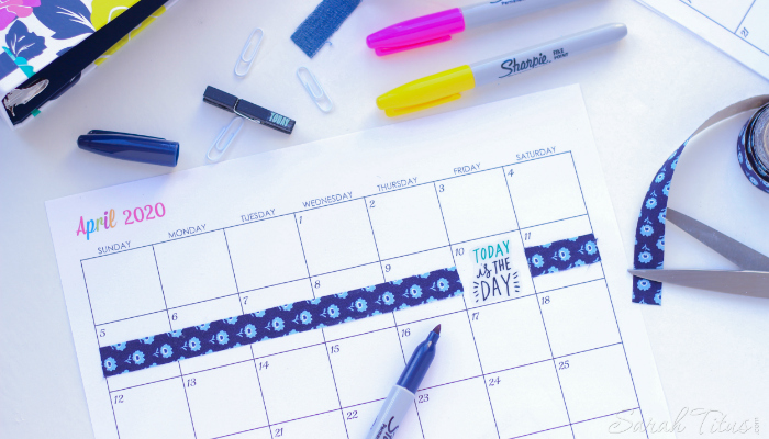 Free Printable 2020 Calendars on a desk with multicolored markers