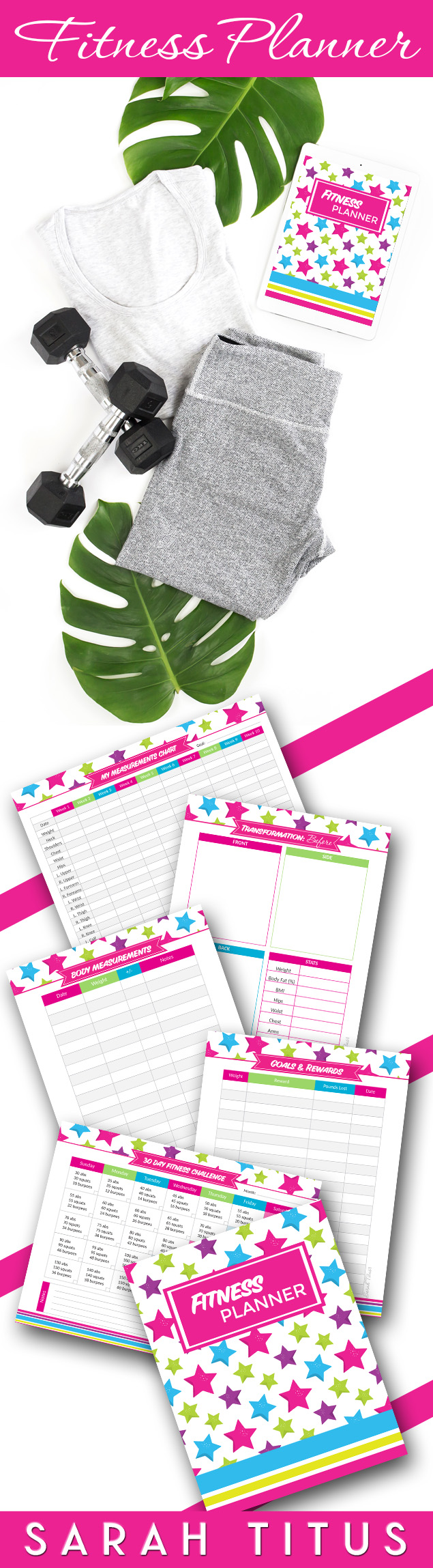 Whether you're just starting your exercise routine or been at it for years, this fitness planner printables set will help you get in shape and organize your fitness plan. #fitnessplan #loseweight #fitness #fitnessbinder #fitnessplanner #binder #planner