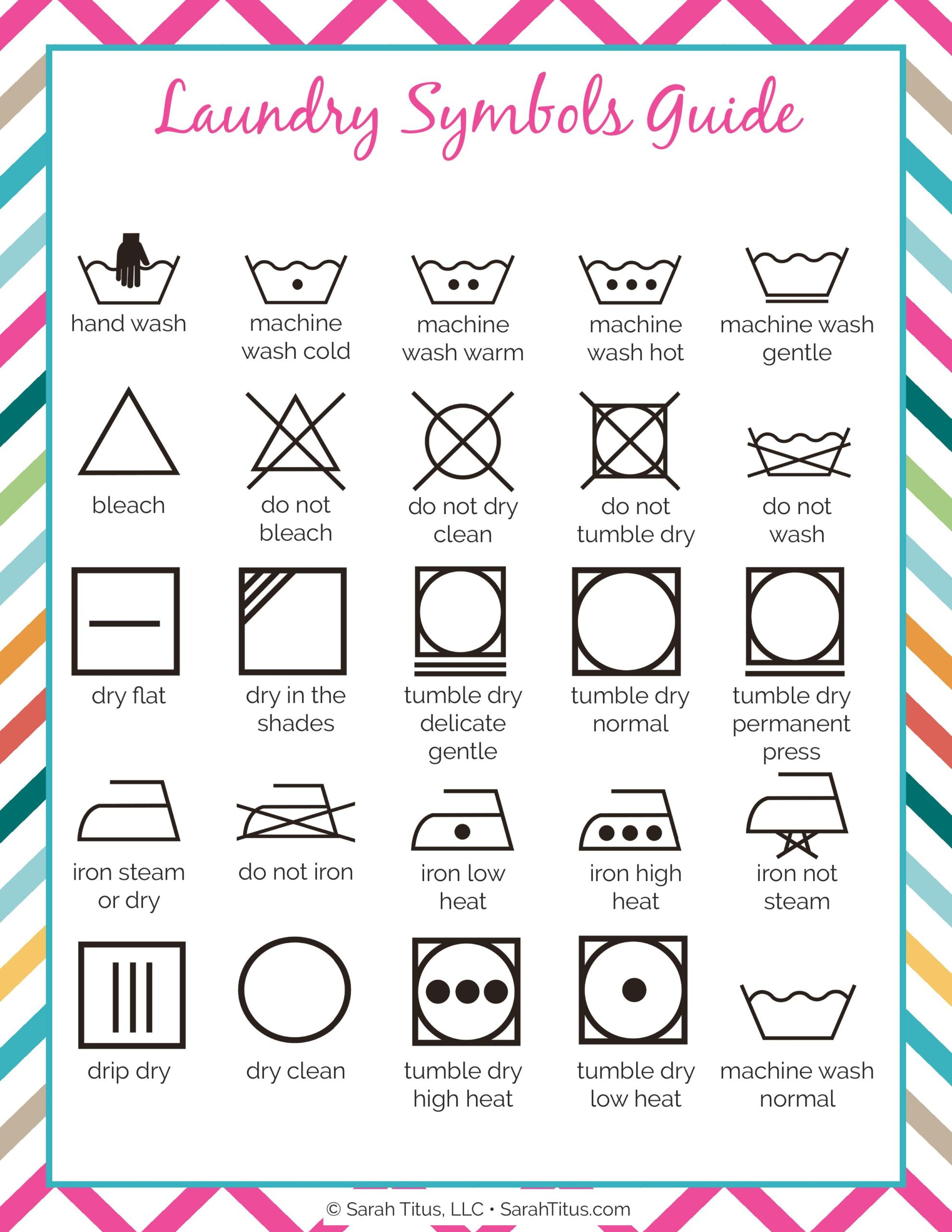 It is a graphic of Punchy Laundry Symbols Printable