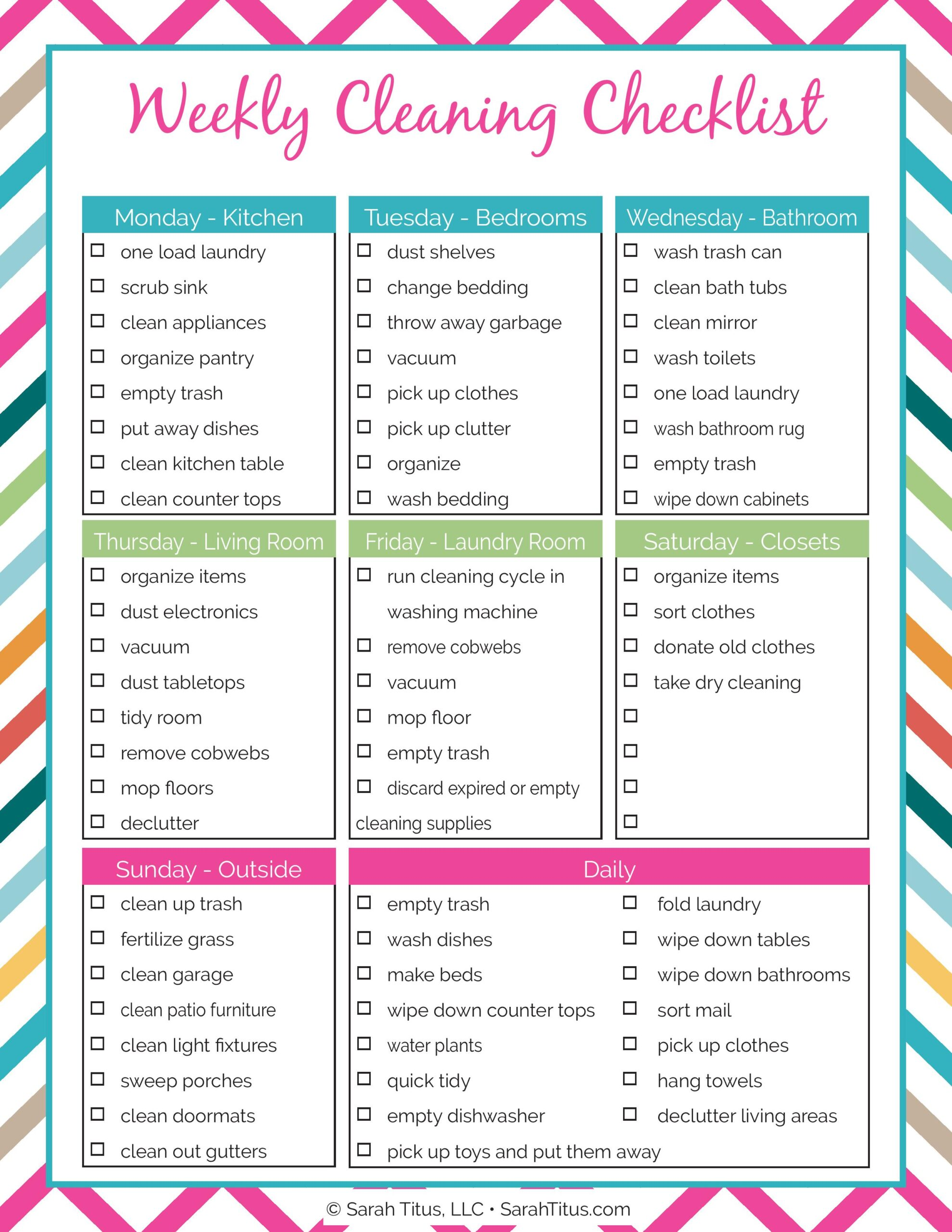 Cleaning Binder: Weekly Cleaning Checklist - Sarah Titus