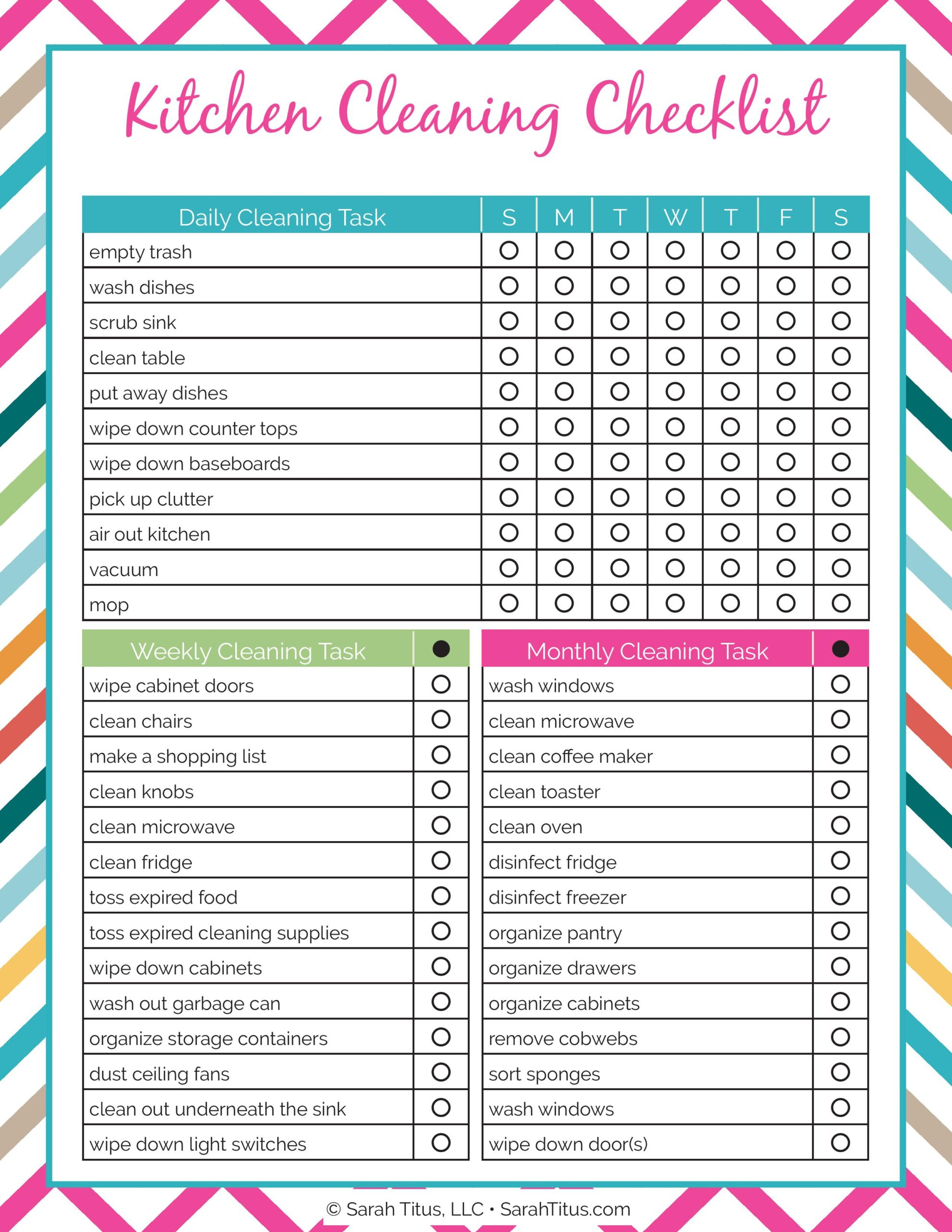 Kitchen Checklist cleaning binder: kitchen cleaning checklist - sarah titus