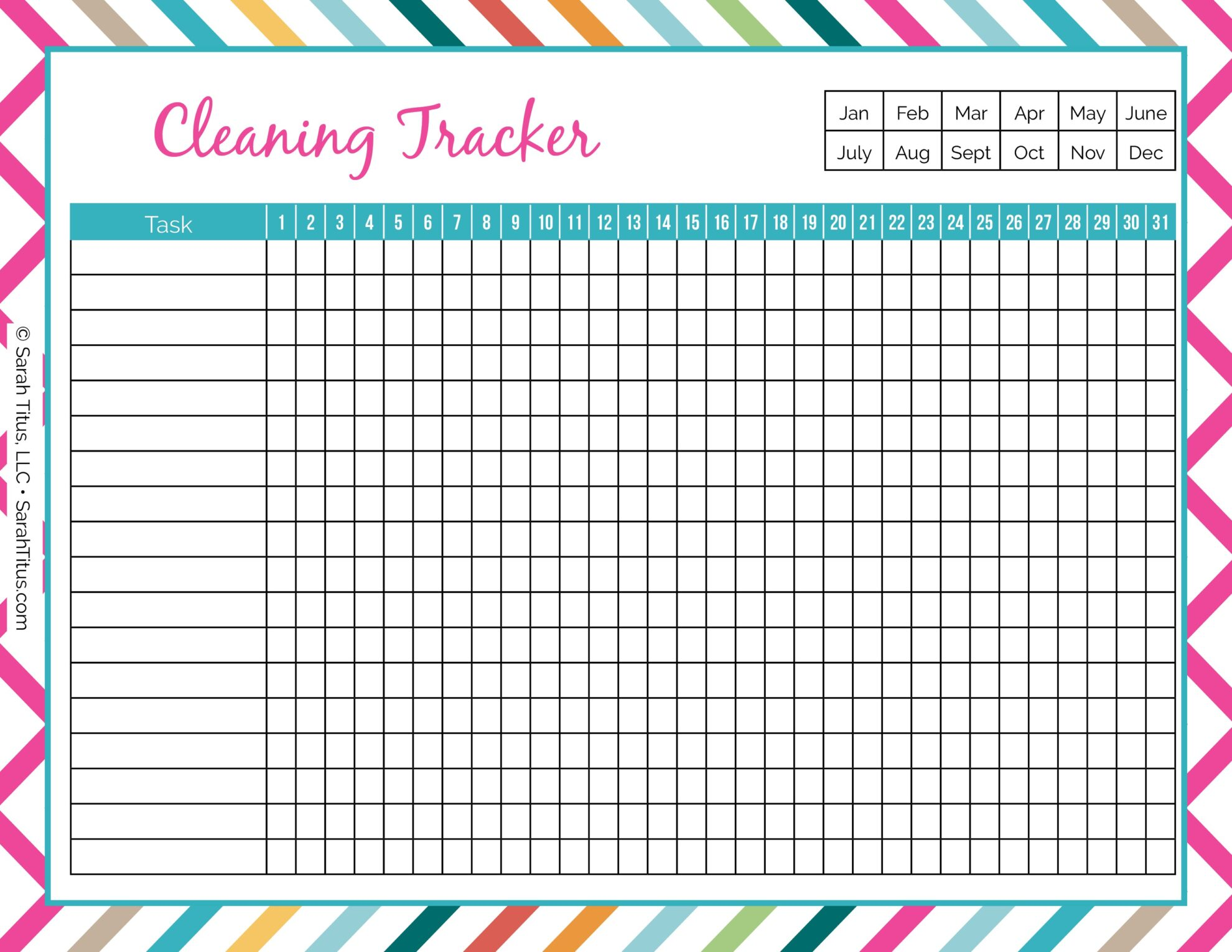 photograph regarding Free Printable Organizing Sheets identified as Cleansing Binder: Cleansing Tracker - Sarah Titus