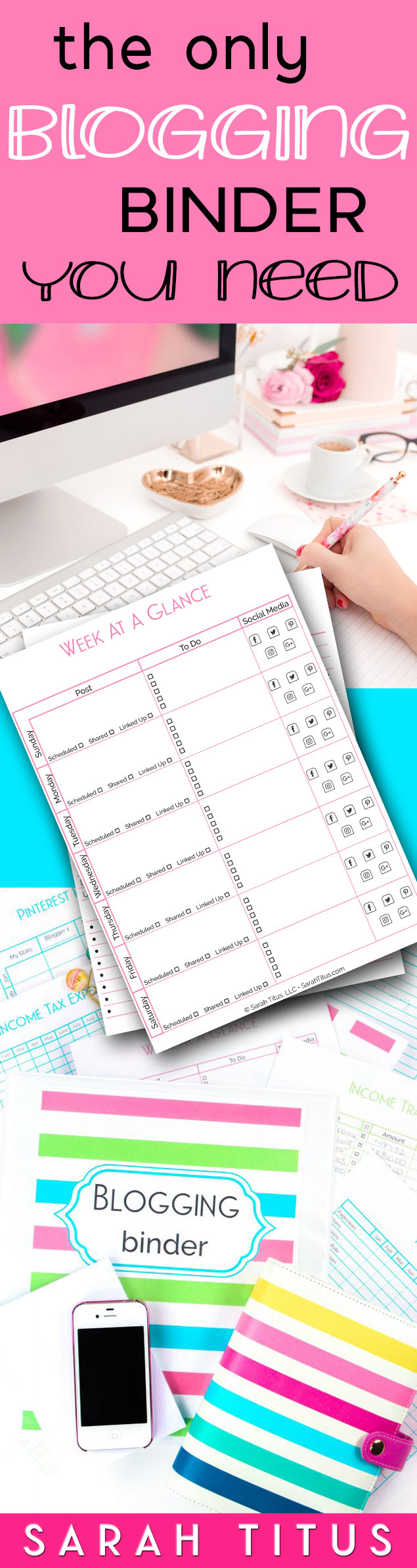I've used many blog planners, but none of them really did what I wanted them to do. That is, until I created my OWN. At 180+ pages, this is the one blogging binder you need! #bloggingbinder #blogbinder #blogprintables #bloggingprintables #blogplanner #bloggingplanner