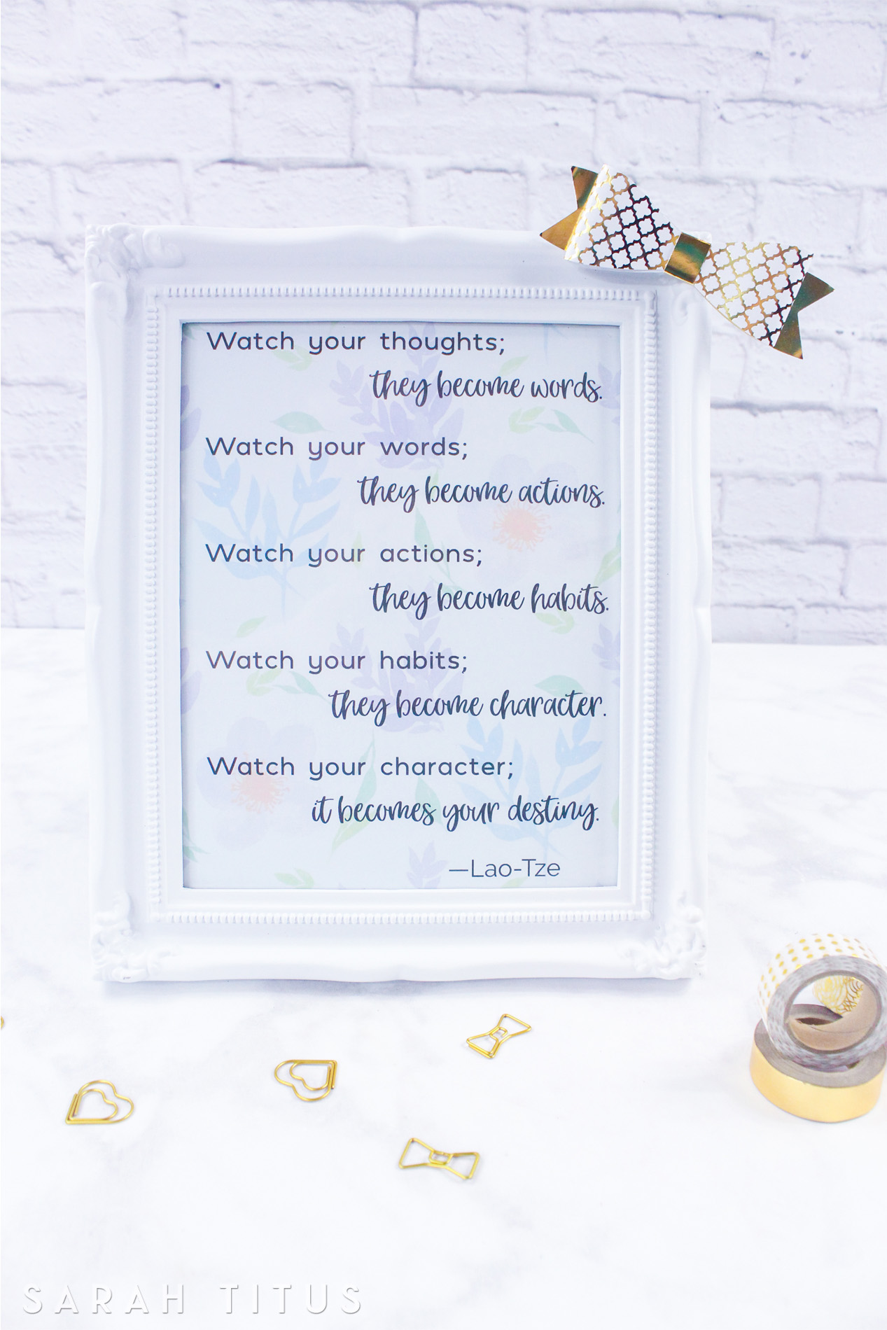 This is the perfect wall art printable to hang in your home to remind your family to watch their thoughts and words toward one another and treat each other with kindness.