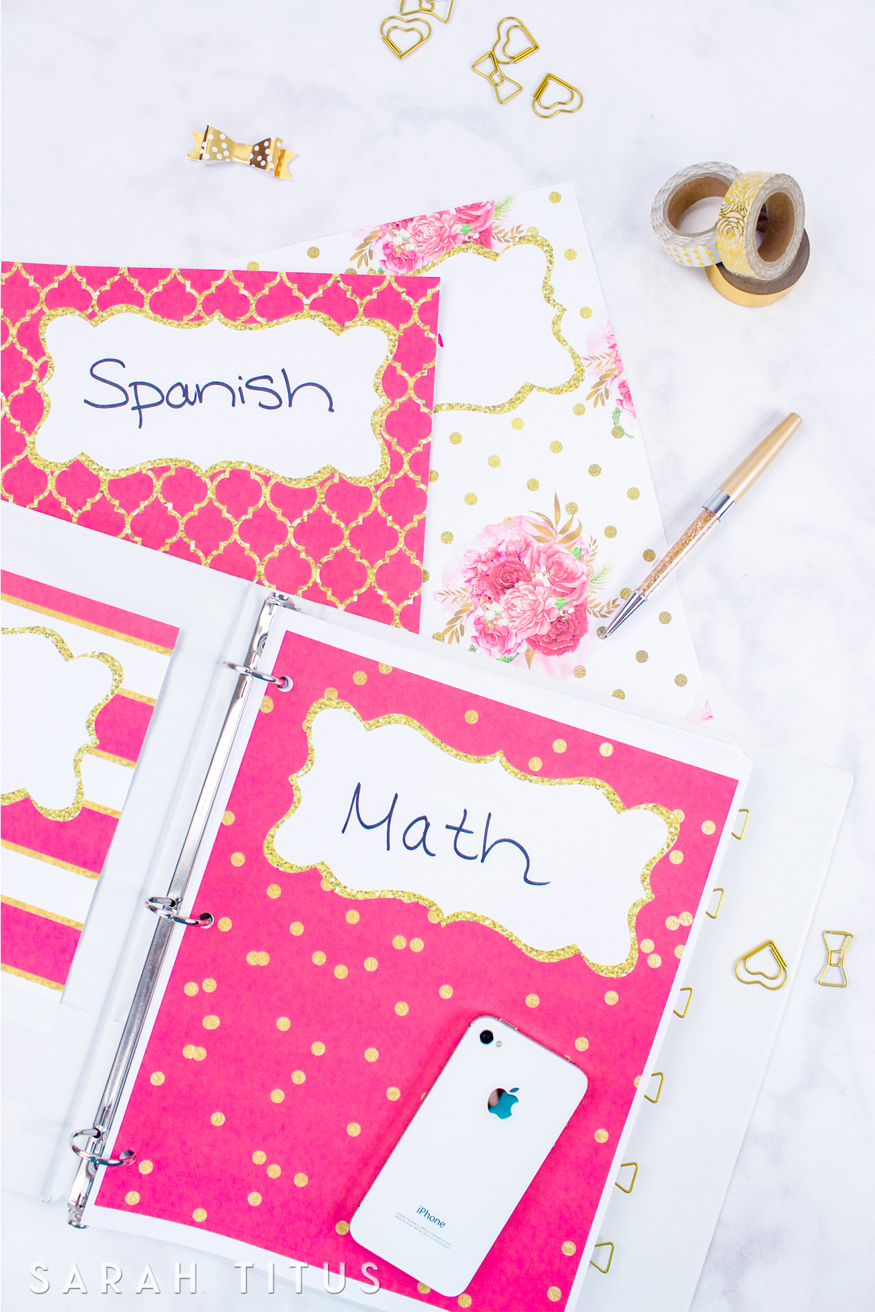Use these binder covers / dividers free printables either as binder covers or as dividers for anything you want to organize, whether it be school, your notebooks, or home binders.