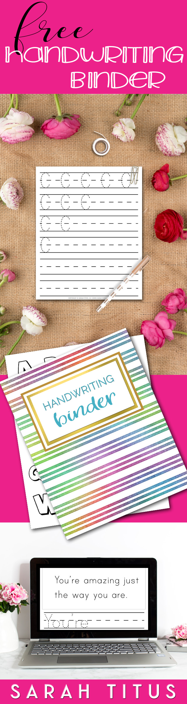 60+ page Handwriting Binder printables set includes, capital letters, tracing sheets, coloring pages, encouraging copy sentences...and more! #handwritingpracticesheets #freeprintables #freebinder #freehandwriting #handwriting